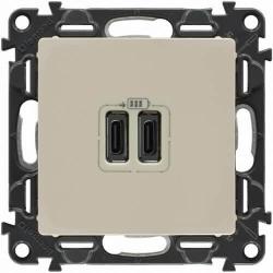 Розетка USB Valena Life с двумя разъемами тип С/тип С (слоновая кость) 753207