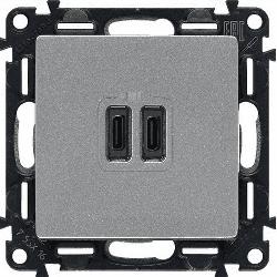 Розетка USB Valena Life с двумя разъемами тип С/тип С (алюминий) 753307
