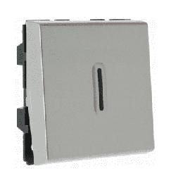 Механизм проходного переключателя с подсветкой Legrand Mosaic 2 модуля (алюминий) 079212