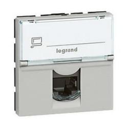 Механизм компьютерной розетки Legrand Mosaic RJ45 Кат.5e UTP 2 модуля (алюминий) 079454