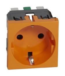 Механизм электрической розетки Legrand Mosaic c заземлением cо шторками безвинтовые зажимы (оранжевый) 077217