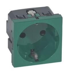 Механизм электрической розетки Legrand Mosaic c заземлением cо шторками безвинтовые зажимы (зеленый) 077216