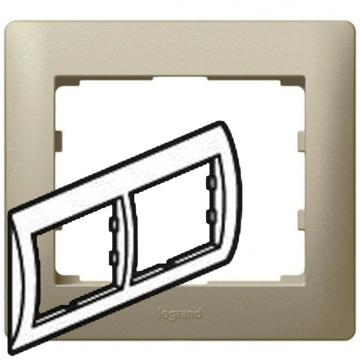 Рамка Galea life двухместная горизонтальная (титан) 771402