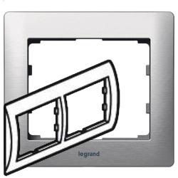 Рамка Galea life двухместная горизонтальная (матовый алюминий)