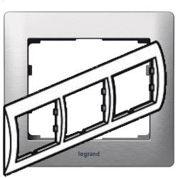 Рамка Galea life трехместная горизонтальная (матовый алюминий)