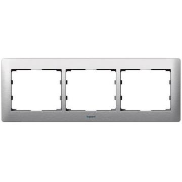 Рамка Galea life трехместная горизонтальная (матовый алюминий) 771953
