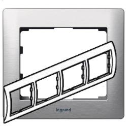 Рамка Galea life четырехместная горизонтальная (матовый алюминий) 771954