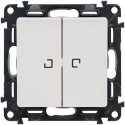 Выключатель двухклавишный с подсветкой Valena Life (белый)