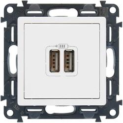 Розетка USB Valena Life с двумя разъемами тип А/тип А (белая) 753412