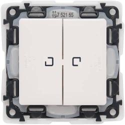 Переключатель двухклавишный с подсветкой влагозащищенный Valena Life (белый) 752159