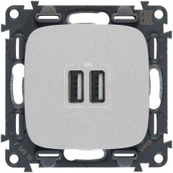 Розетка USB Valena Allure с двумя разъемами тип А/тип А (алюминий) 754997