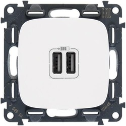 Розетка USB Valena Allure с двумя разъемами тип А/тип А (белая) 754995