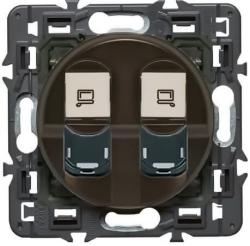 Розетка компьютерная двойная RJ45+RJ45 Celiane (графит) 067344+067952+080251