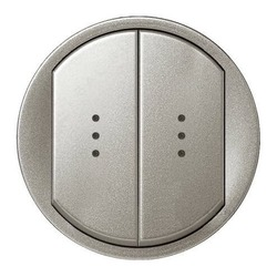 Лицевая панель Legrand Celiane для двухклавишного выключателя и переключателя с подсветкой (титан) 068304