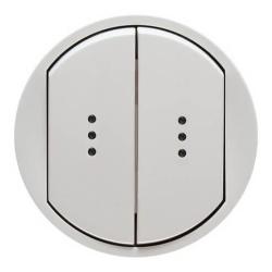 Лицевая панель Legrand Celiane для двухклавишного выключателя и переключателя с подсветкой (белая) 068004