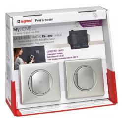 Комплект радио управления освещением с двух мест Legrand (алюминий) 067279