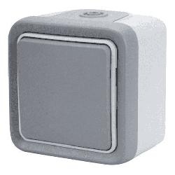 Кнопочный выключатель Plexo 10A, IP55 (цвет серый)