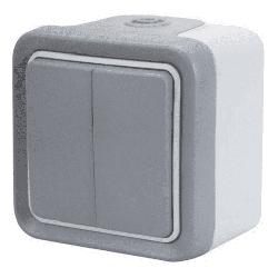 Выключатель-переключатель двухклавишный  Plexo 10A, IP55 (цвет серый) 069715