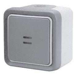 Выключатель-переключатель с индикацией Plexo 10A, IP55 (цвет серый)