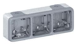 Рамка 3-постовая для накладного монтажа Plexo IP55 (цвет серый) 069680