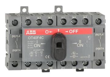 Рубильник реверсивный ABB OT40F4С 40А 4х полюсный с ручкой 1SCA104934R1001