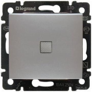 Проходной одноклавишный переключатель с подсветкой Valena (Алюминий) 770126