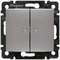 Выключатель двухклавишный с подсветкой Valena (Алюминий) 770128