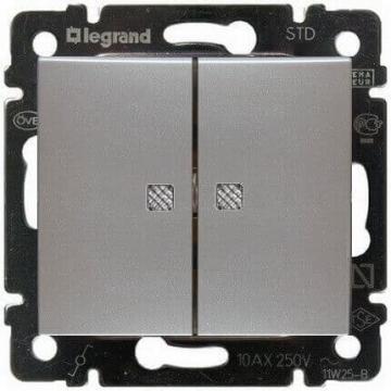 Проходной двухклавишный переключатель с подсветкой Valena (Алюминий) 770212