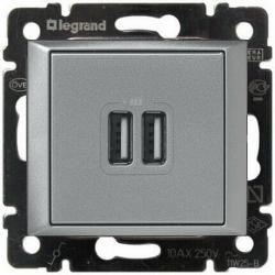 Розетка USB Valena (алюминий) 770270